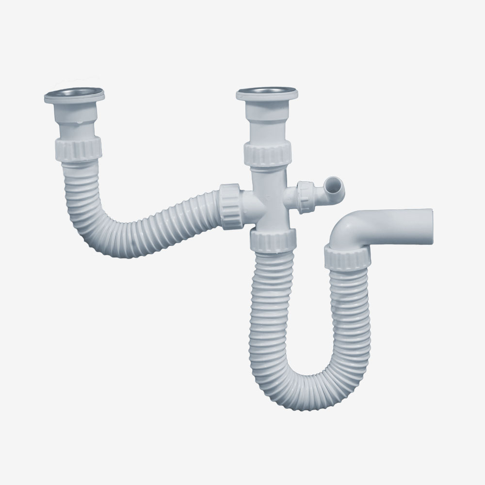 Two piece kitchen sink siphon